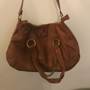 Brown leather cross body purse